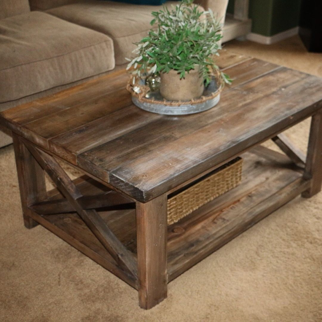 rustic coffee table natural stains custom made and end tables sofa lamps more plans anawhitediy new glass top promo furniture kmart covers tan brown mirror circular garden stool
