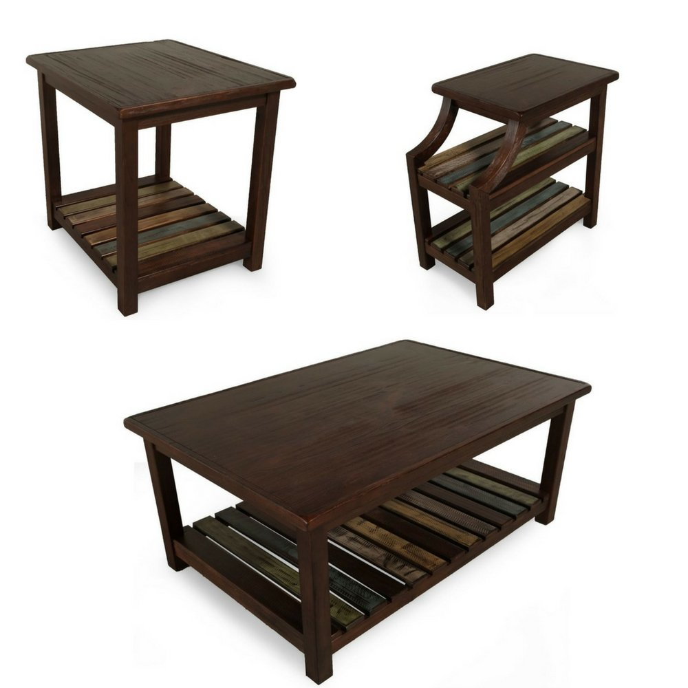 rustic coffee table set for living room dark wood end tables side chairside accent reclaimed wooden veneers vintage with shelves contemporary spray paint kitchen plexiglass