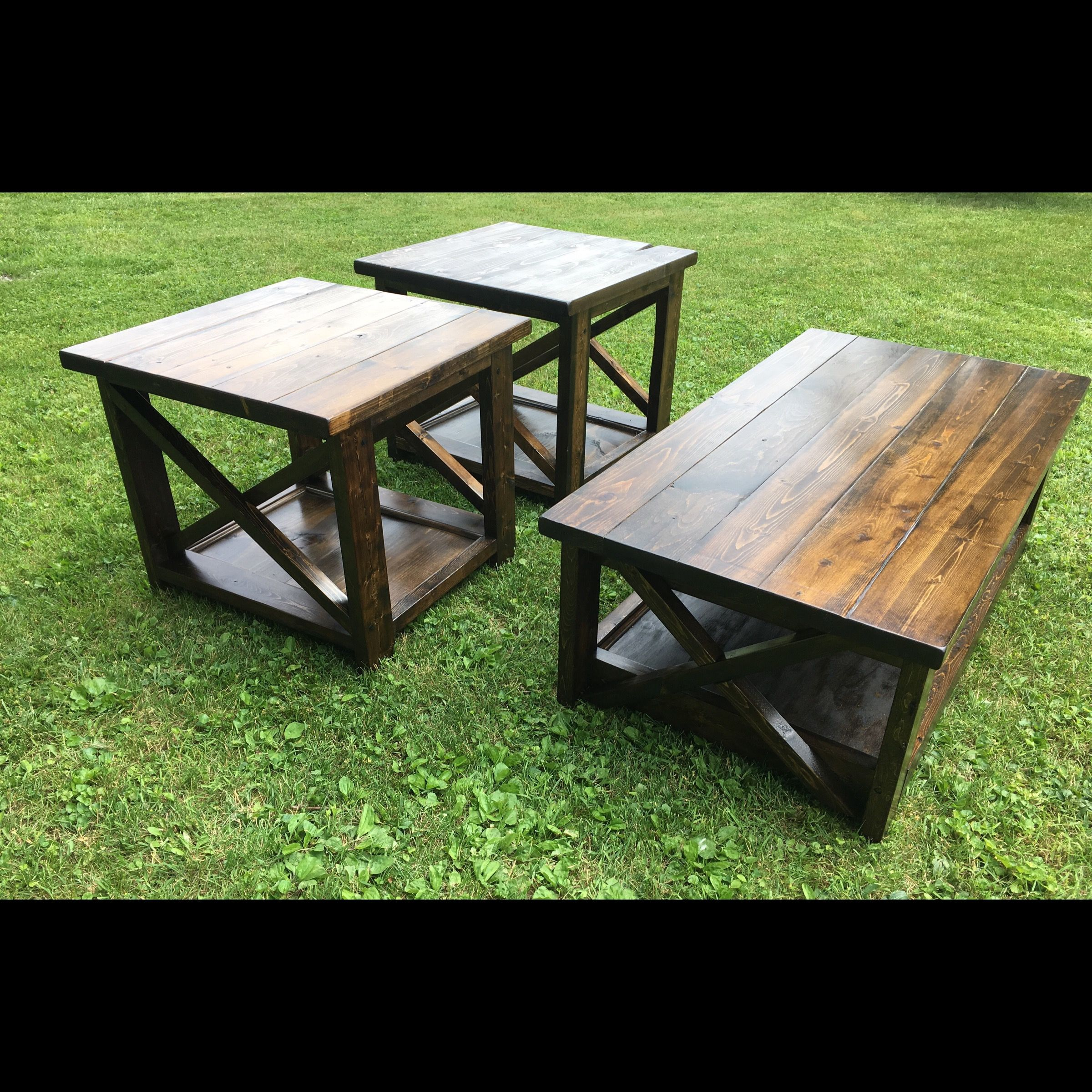 rustic coffee table with matching end tables backyard diy pallet garden furniture chairside accent glass top outdoor modern lamp sango dishes high console leg kit metal bench legs