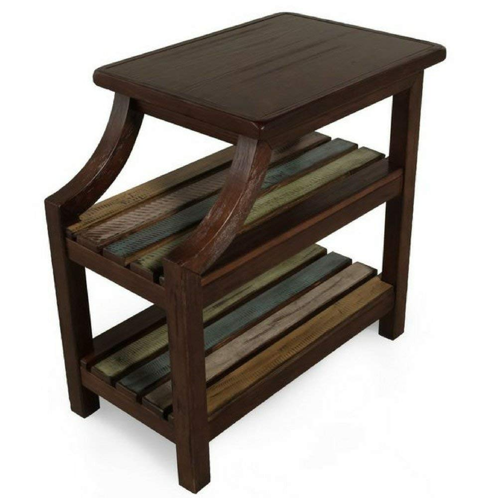 rustic dark wood end table side chairside accent tables reclaimed wooden veneers entryway vintage living room with shelves contemporary farmhouse traditional diy industrial legs