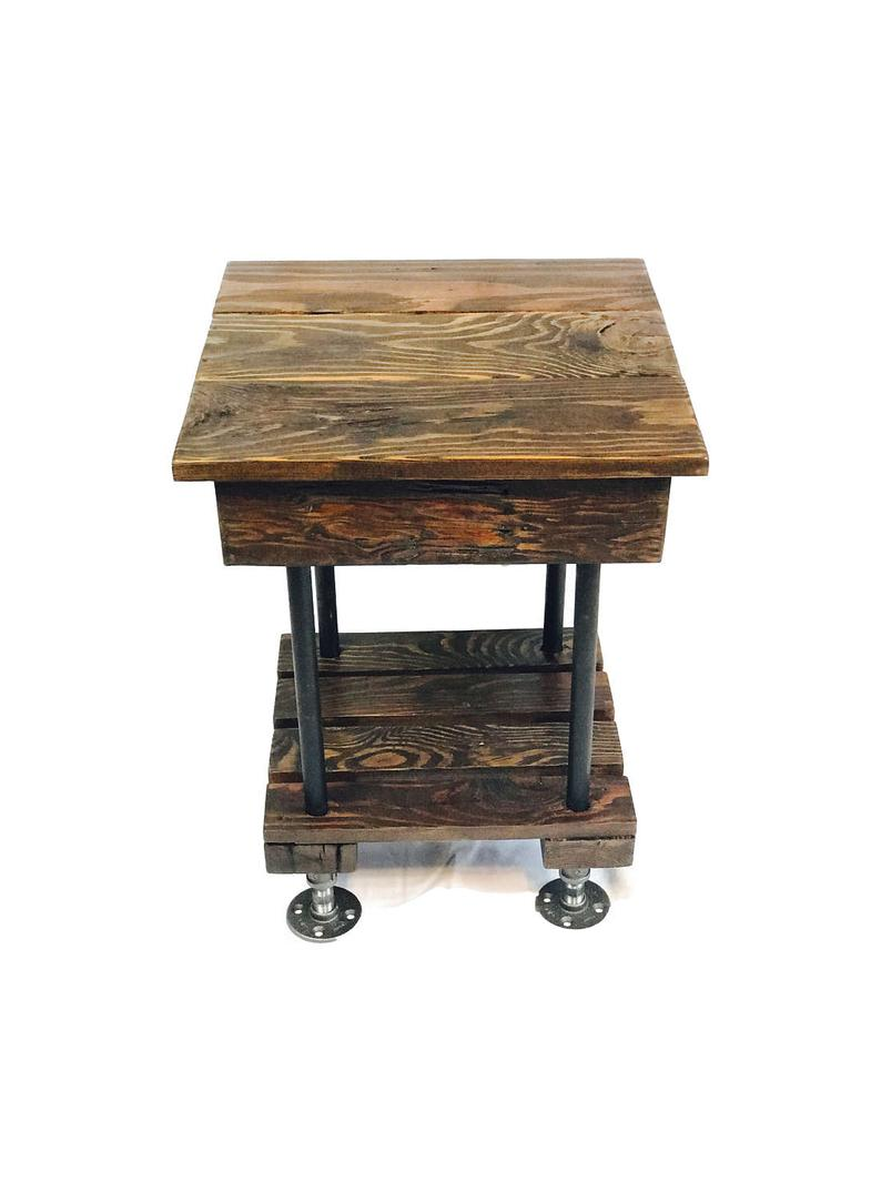 rustic end table with pipe legs reclaimed wood side etsy vintage tables interdesign bathroom glass and iron colour schemes brown leather sofa lounge cushions cream coffee sauder