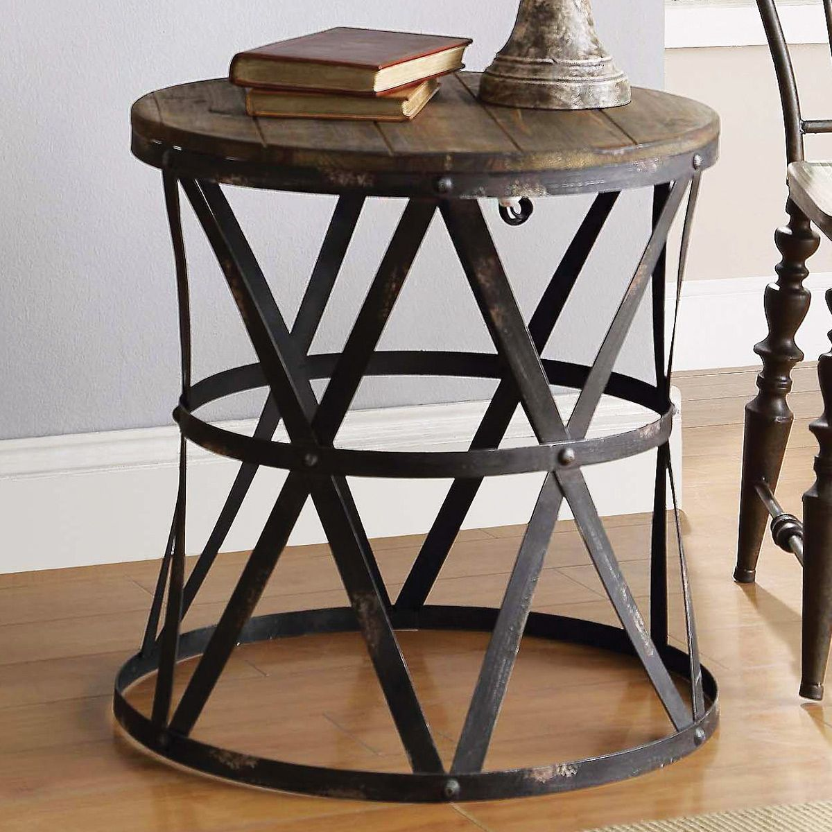 rustic modern side table dream home whatnots industrial black round end coffee tables and forest decor white bedside with one drawer pallet patio furniture instructions pair lamp