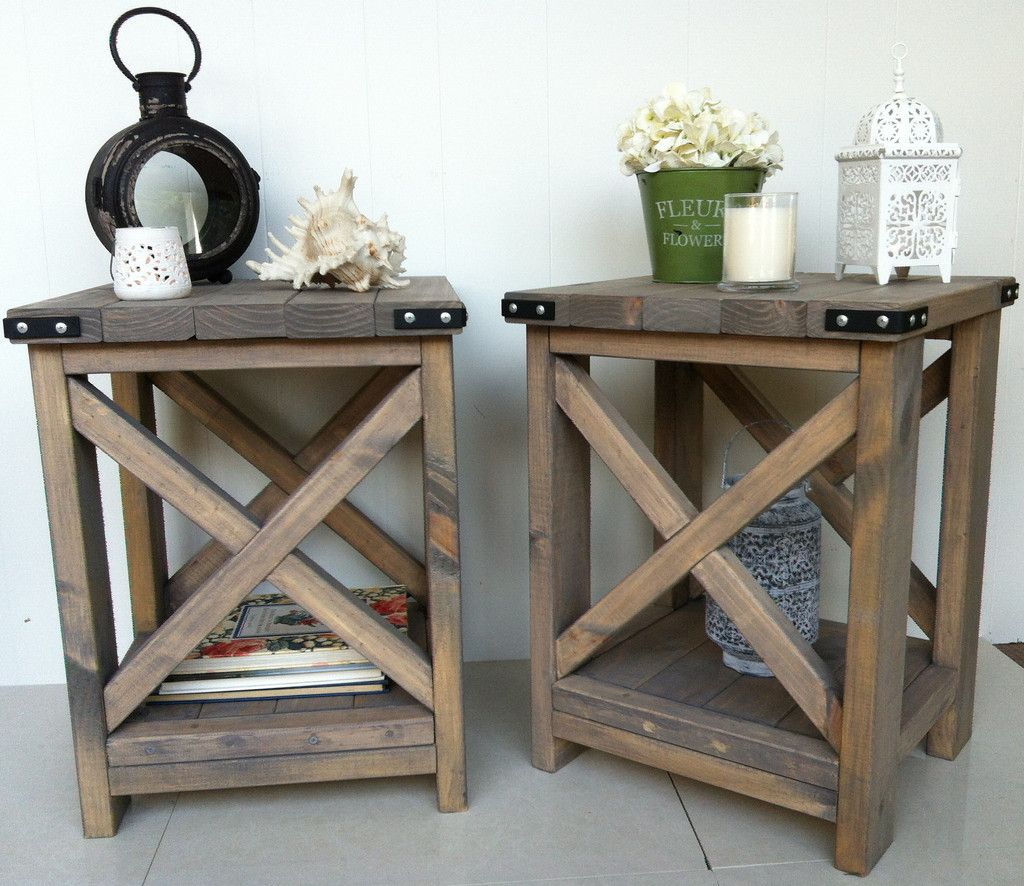 rustic side table designs farmhouse end decor white iron nightstand accent tables calgary wood lamp large folding dog crate outdoor patio furniture thomasville kids puppy ideas