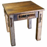rustic western end table with cowhide drawer leather strips coffee tables and pillows brown sofa mirror nightstand acme furniture city industry magnolia home area rugs black night 150x150