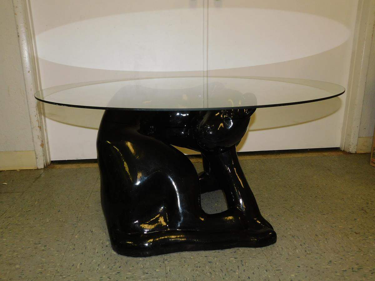 sac valley auctions lot unique black panther table with glass top end tables click below enlarge night pair kmart kitchen stools curtains for brown couch feet round metal dining