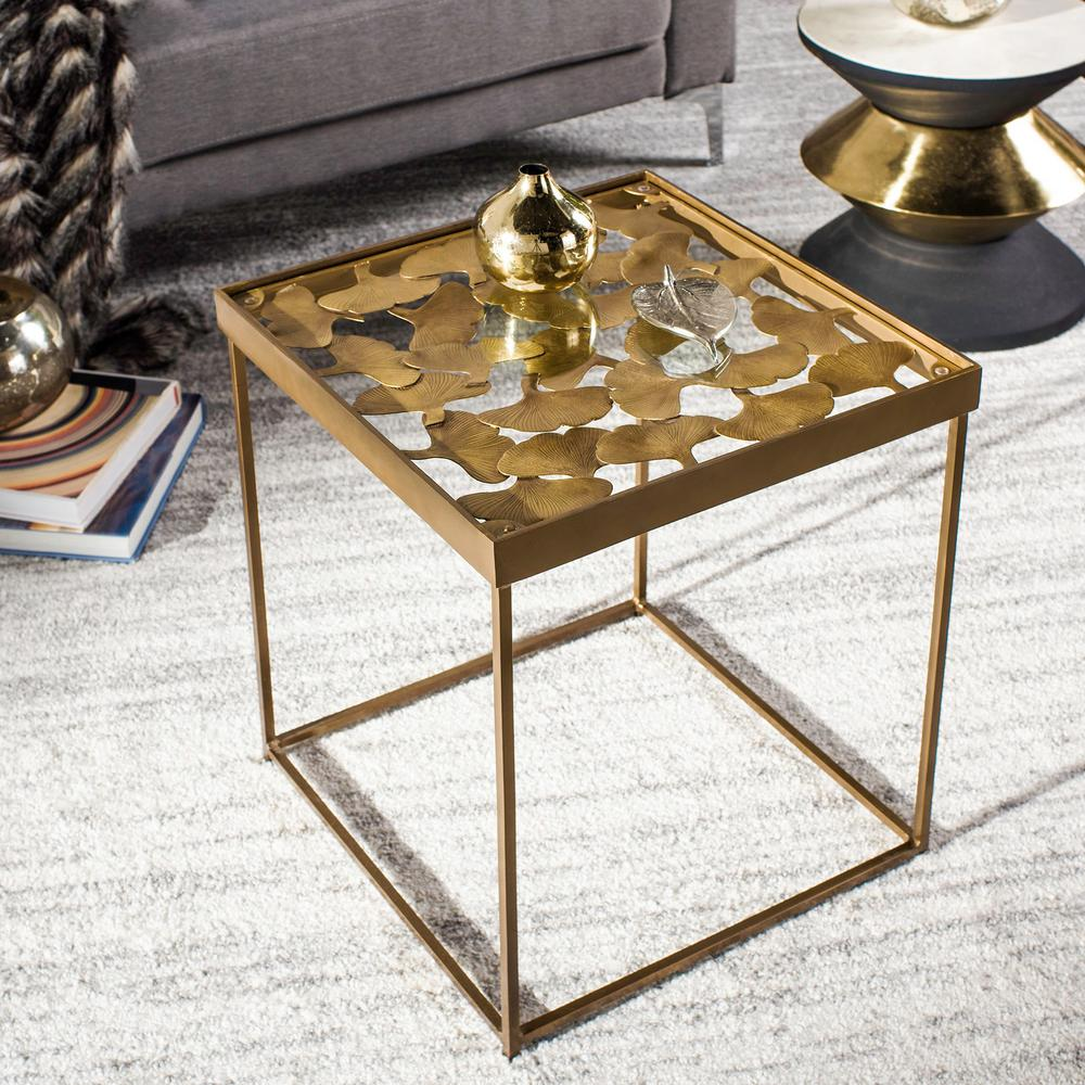 safavieh lilian antique brass glass side table the end tables coffee and furniture large plastic dog crate royal head office lamp dimensions green nightstand gold leg dark wood