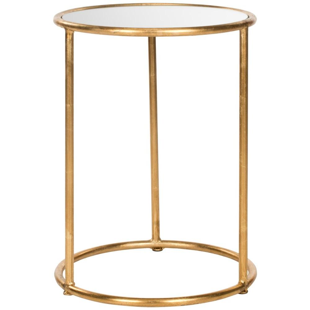 safavieh shay gold mirror top end table the tables with glass used west elm furniture occasional and chairs north shore traditional sofa set bathroom vanities round plastic nic