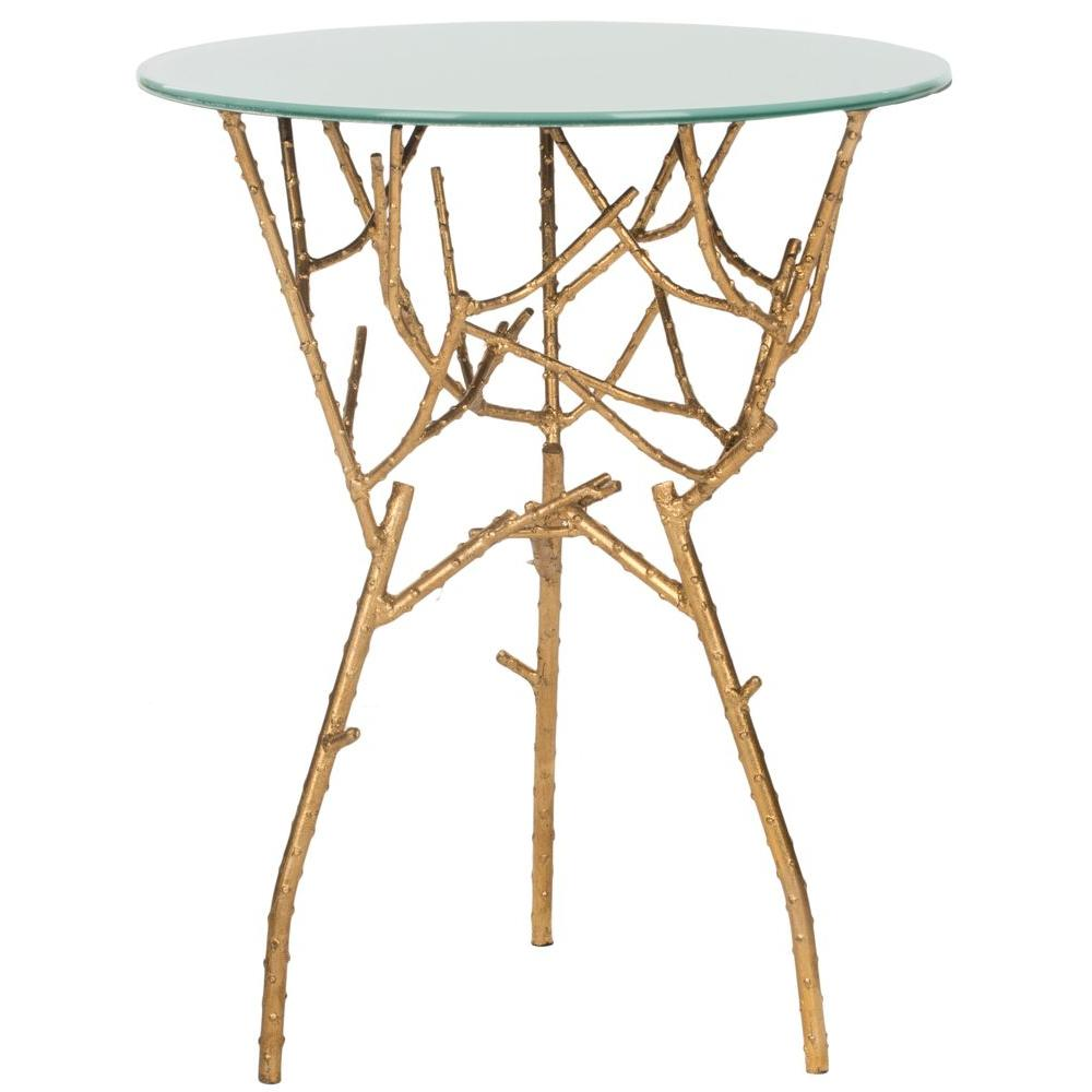 safavieh tara gold and white glass top end table the home tables with mission style long thin side round marble coffee magnolia furniture retailers patio fire ashley hours sunday