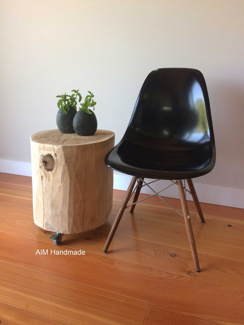 salvaged cedar log stump casters furniture end table etsy tables small rustic accent amish wooden chairs glass display green egg lexington freight painted bench recliner sofa