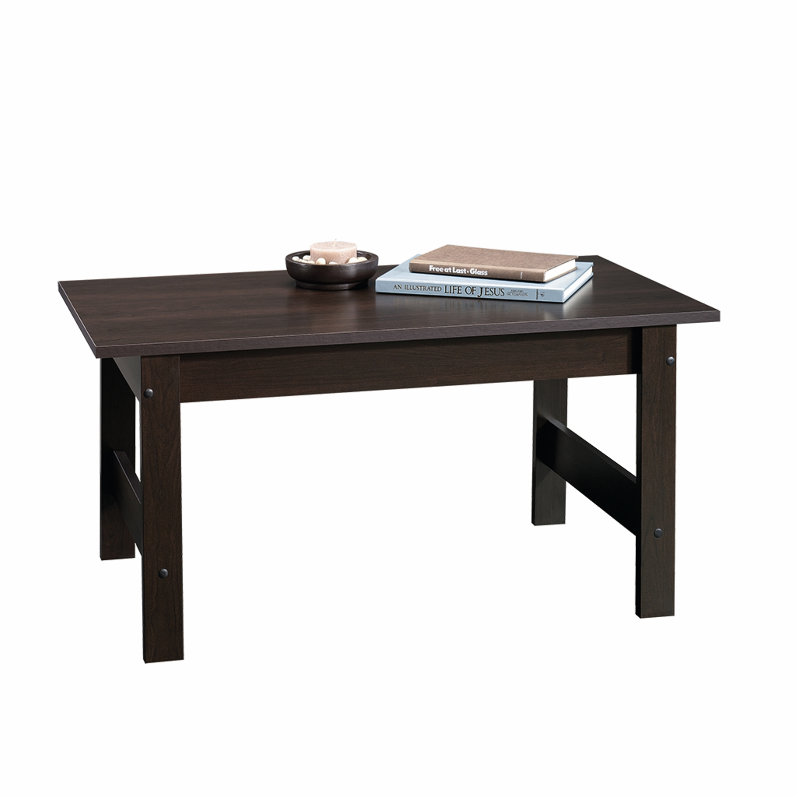 sauder beginnings coffee table cinnamon cherry finish spin prod end ethan allen buffet furniture inch high night stand log dining room tables unfinished wood boston wooden crate