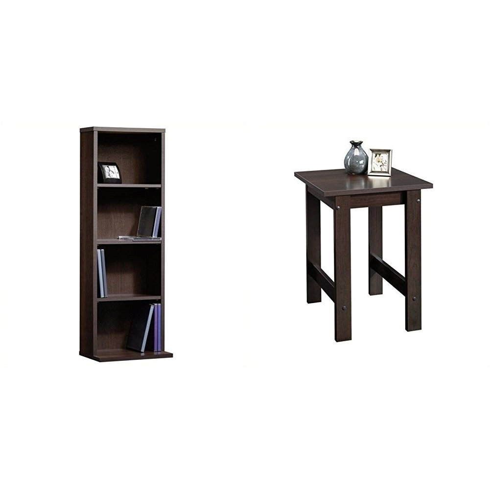 sauder beginnings multimedia storage tower inch end table cinnamon cherry bundle kitchen dining tube steel base dark gray side glass etching designs nightstand wood projects mid