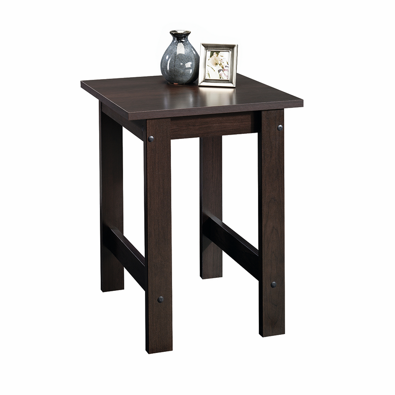 sauder beginnings side table cinnamon cherry spin prod kmart furniture end tables what color rug goes with dark brown raw wood kitchen glass when does the calendar start chocolate