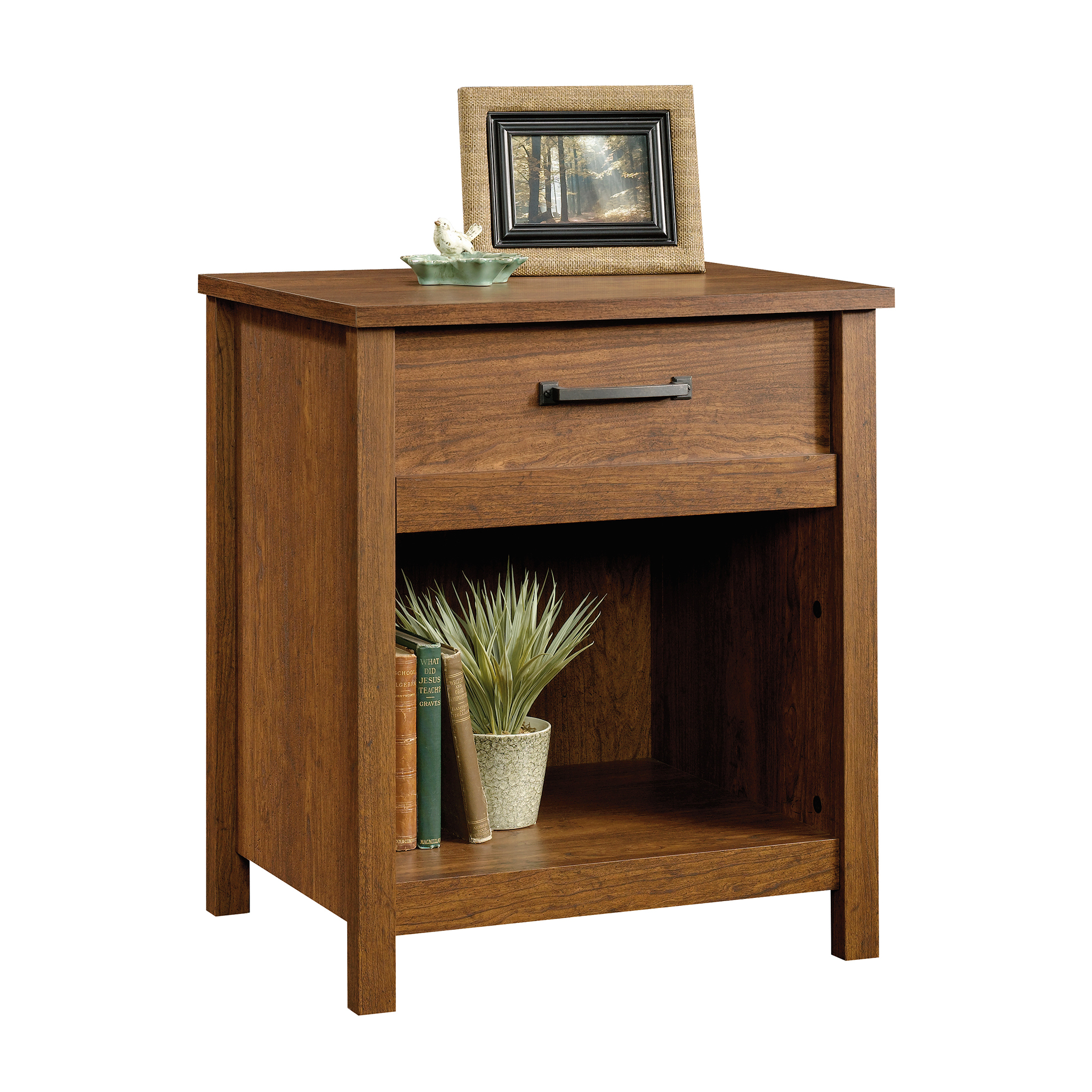 sauder cannery bridge night stand milled cherry finish end table long console with shelves rustic bedding oak coffee tables storage space magnolia range cookers piece marble set