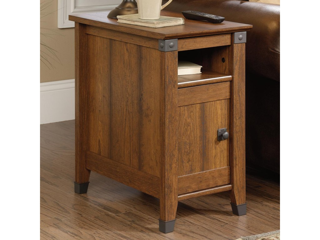 sauder carson forge rustic style side table with hiden pull products color furniture end tables forgeside farmhouse modern kitchen zenfield ashley porter whalen entertainment