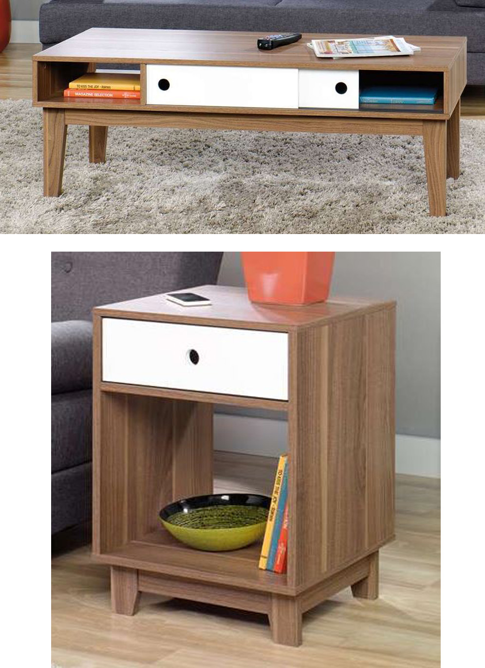 sauder furniture inspired accents modern walnut coffee table end tables liberty collection used oak farmhouse kitchen dog cage ideas rustic country dhp parsons stanley american
