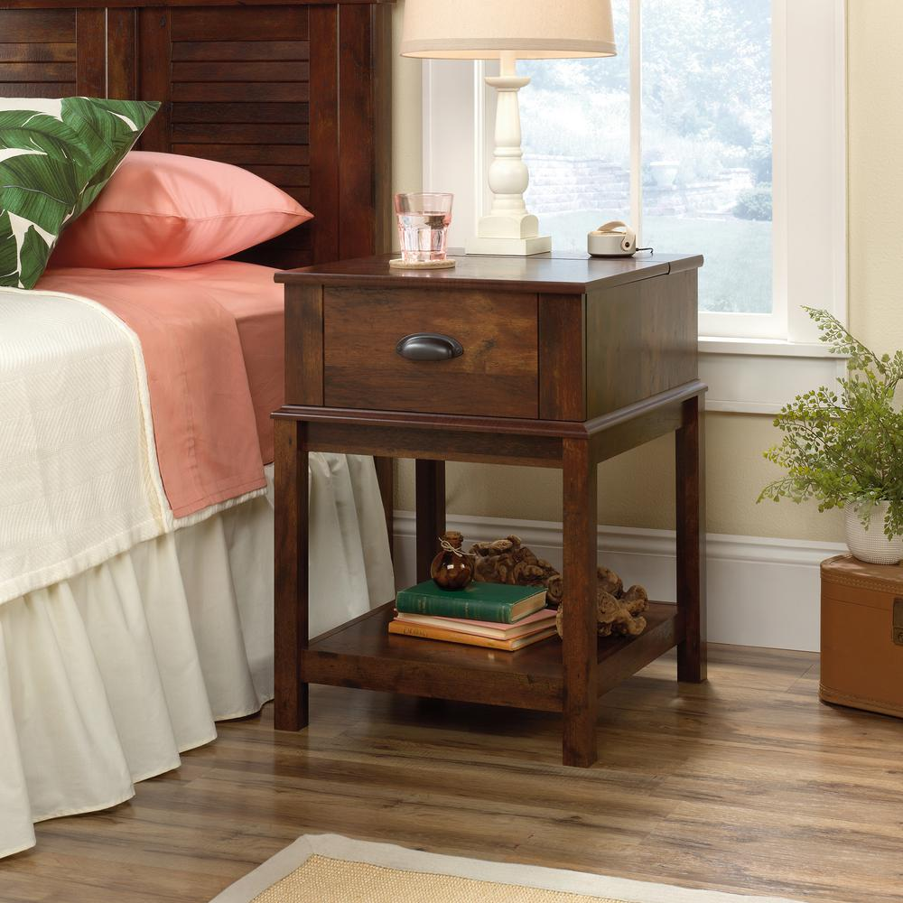 sauder harbor view curado cherry smartcenter end and side table tables lamp dimensions what color throw pillows for brown couch todd english furniture row rugs commercial laundry