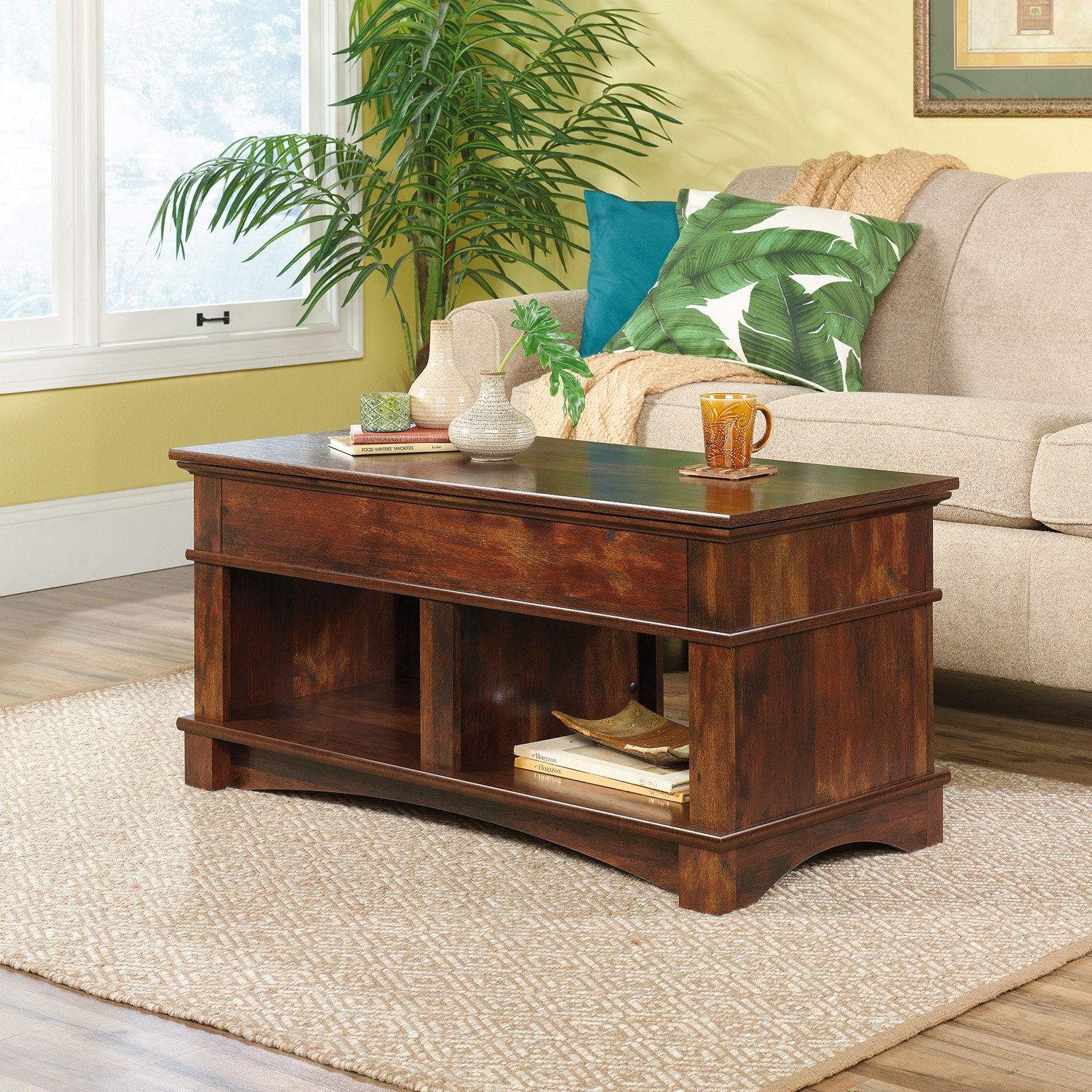 sauder harbor view lift top coffee table furniture end tables baseball used oak homesense calgary farmhouse modern kitchen high wood brands against the wall large dog kennel hill