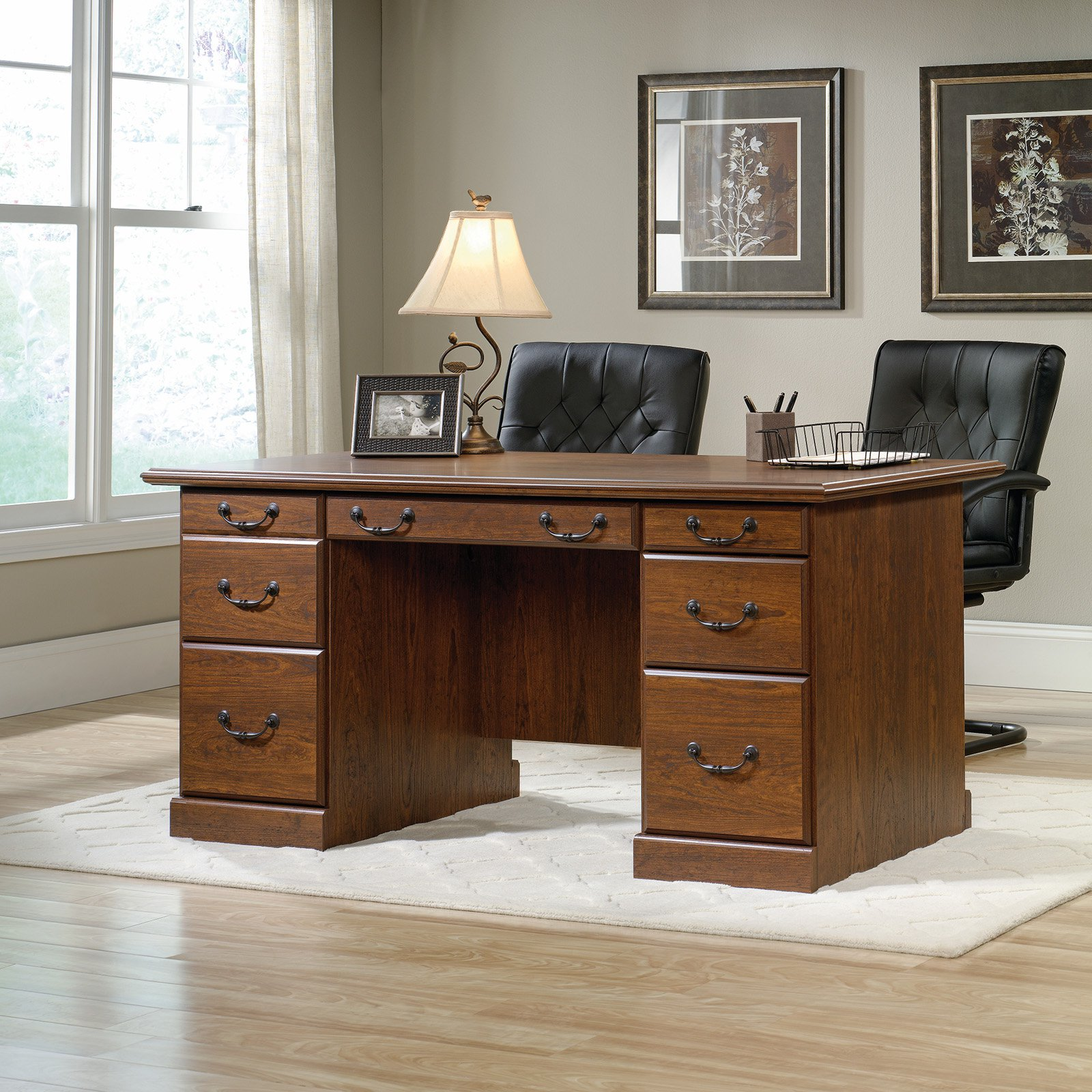 sauder orchard hills executive desk milled cherry end table long console with shelves slim tables target whalen llc range cookers aluminum nic modern industrial coffee luxury pet