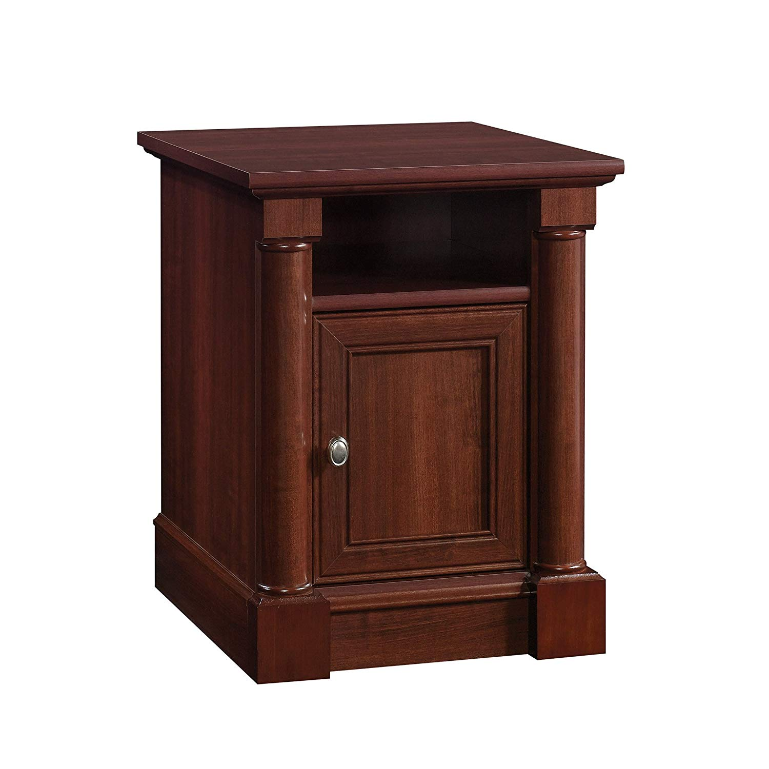 sauder palladia side table select cherry finish end what color throw pillows for brown couch canton akron small indoor dog kennels furniture row rugs can you paint laminate slim