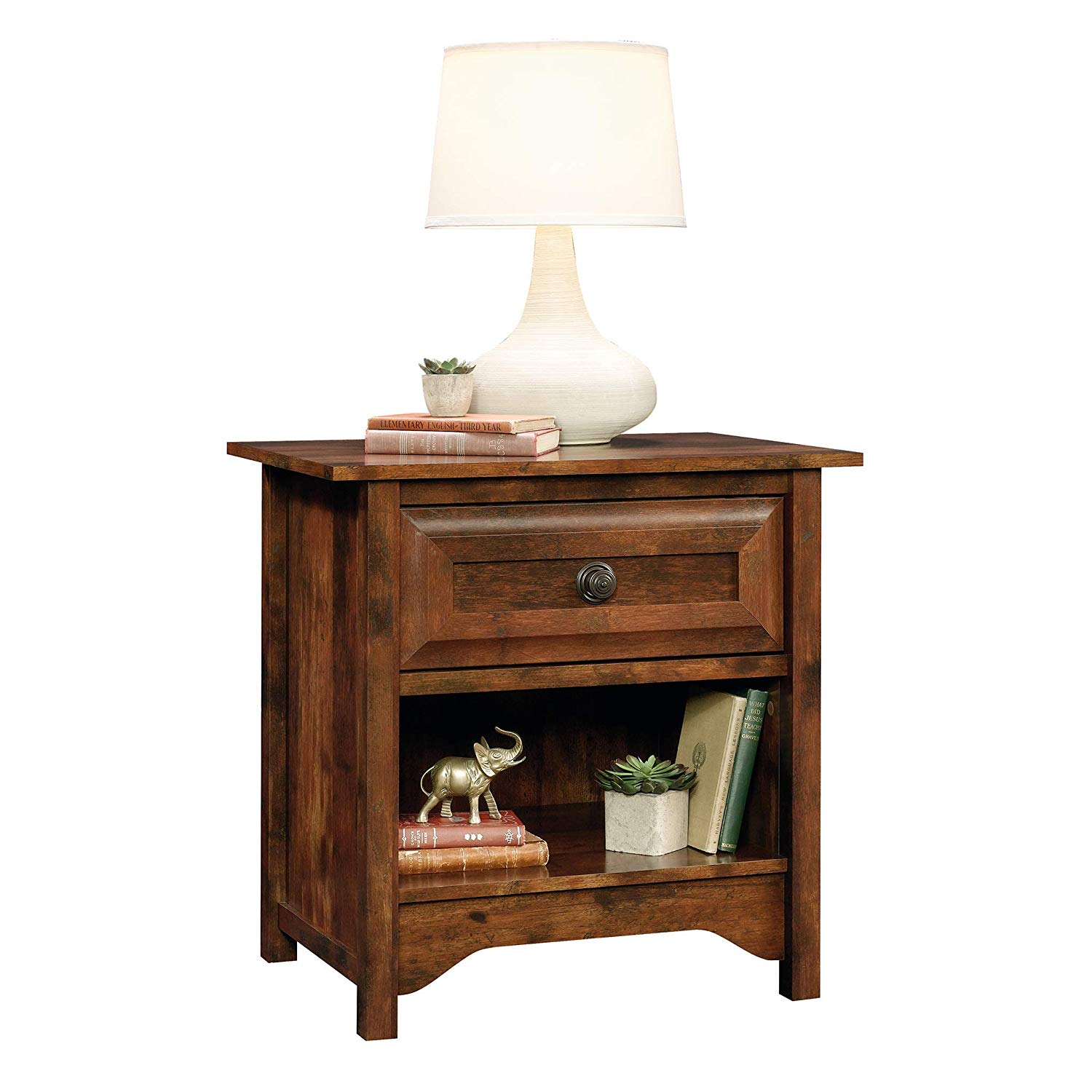 sauder viabella night stand table milled cherry end curado finish kitchen dining thomasville collectors bedroom set rustic bedding luxury pet residence round glass top bedside