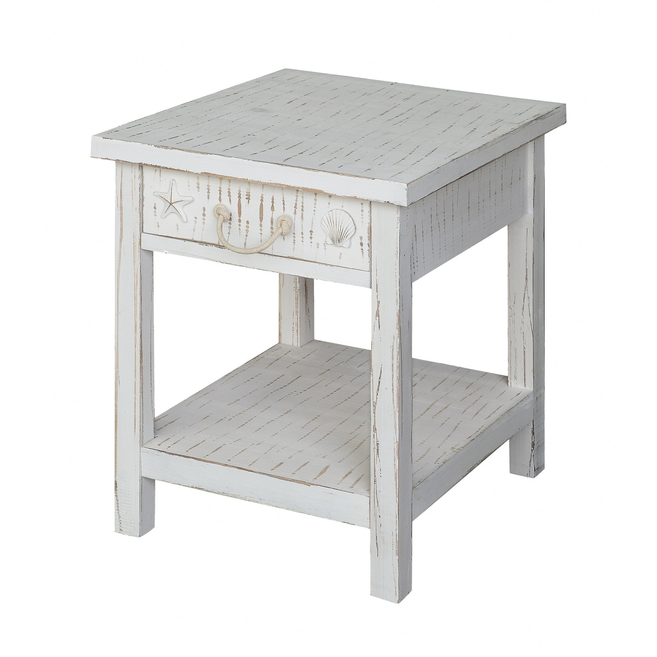 seaside white coastal end table free shipping today tables small space living room the wolf creek kmart outdoor settings huntington bedroom furniture liberty distributors kaden