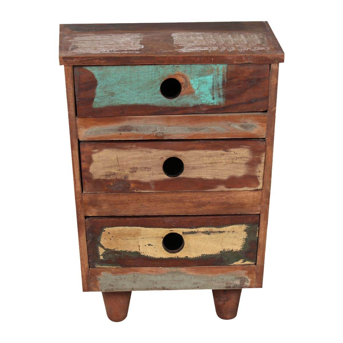sedona three drawer reclaimed wood rustic end table with drawers skinny foyer glass top patio and chairs wicker side flooring specials black mirrored console lamp height parawood