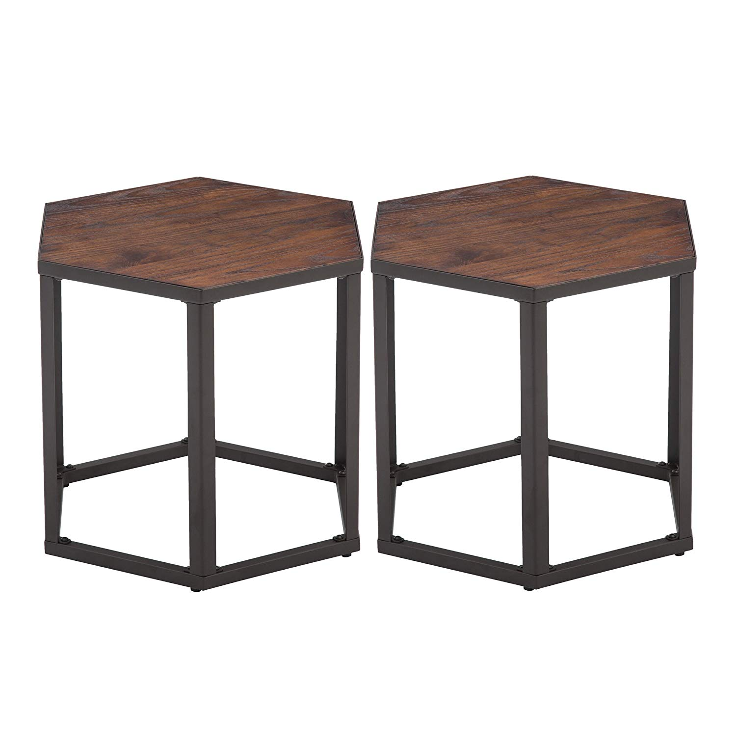 set end tables hexagon modern leisure wood coffee table and with metal legs for living room balcony office kitchen dining homesense footstool small glass rooms leather furniture