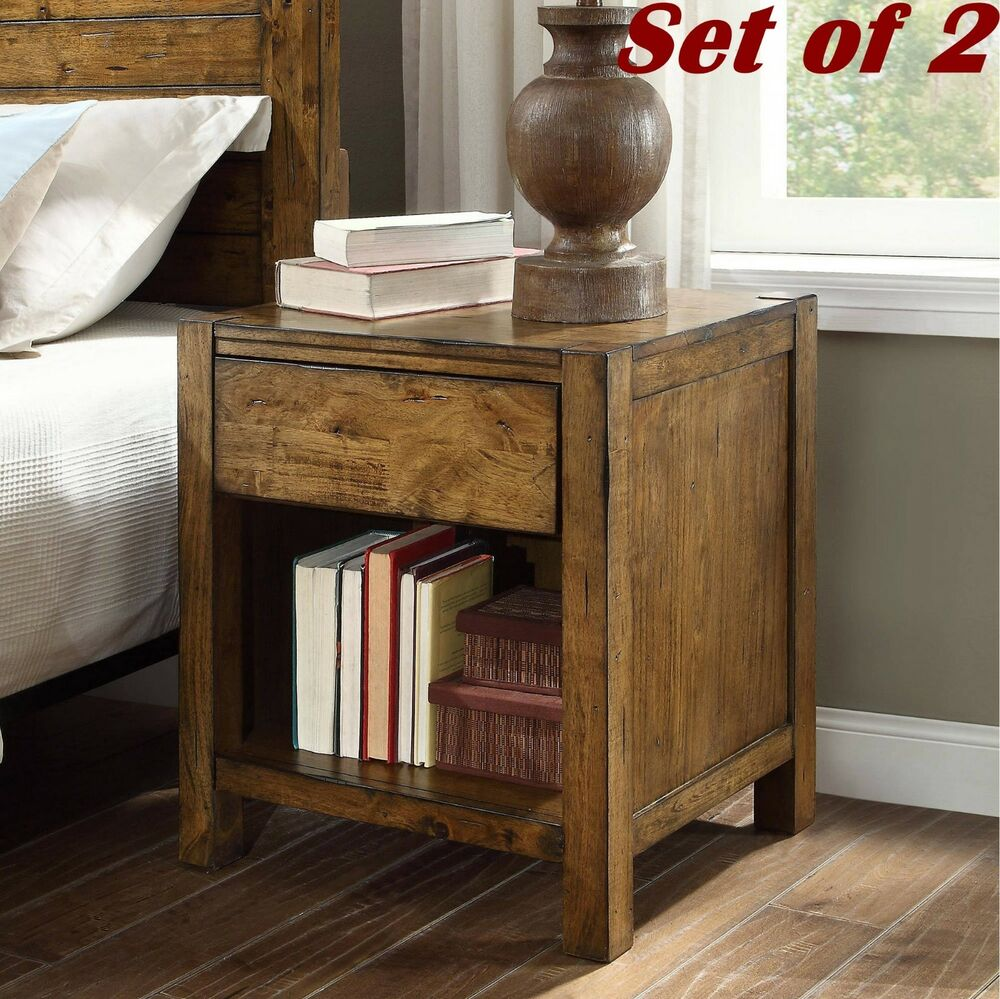 set rustic wood night stands bedroom furniture with drawer end tables details about bedside table industrial metal coffee wire unique side diy black pipe italian dark brown