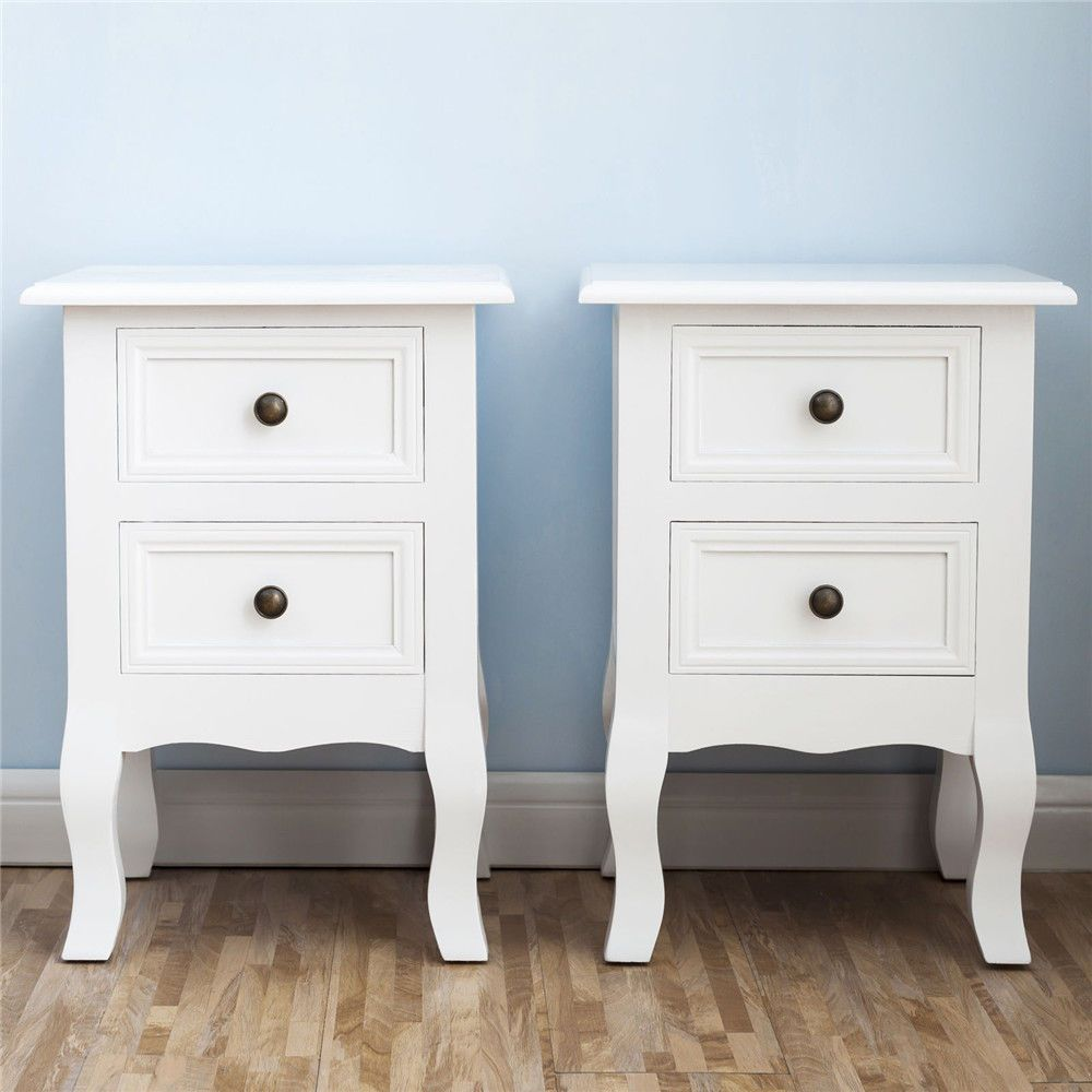 set two white bedside nightstand end table drawers bedroom tables organizer living room square coffee girl twin beds furniture outdoor patio fire pit pipe threader dolphin dining