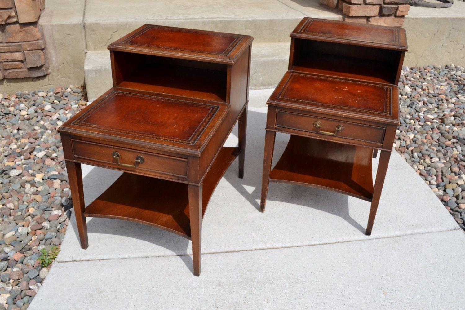 set vintage mahogany leather top step end tables and coffee table best for furniture pair with drawer mid century night stand genuine chalksolot painted bedside ideas sauder home