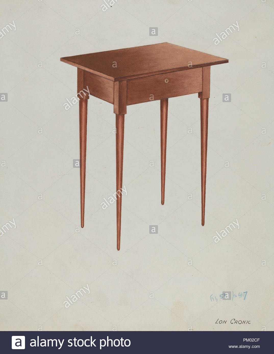 shaker candle table dated dimensions overall original iad object high wide deep medium watercolor and graphite paper museum national gallery art author lon cronk end ashley