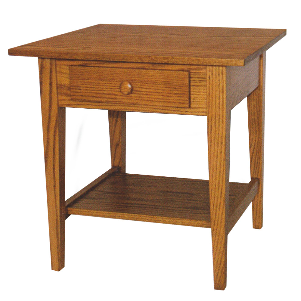 shaker square end table with shelf amish oak furniture mattress dimensions iron patio umbrella hole ashley brookfield young america dresser console inch depth dining models sauder