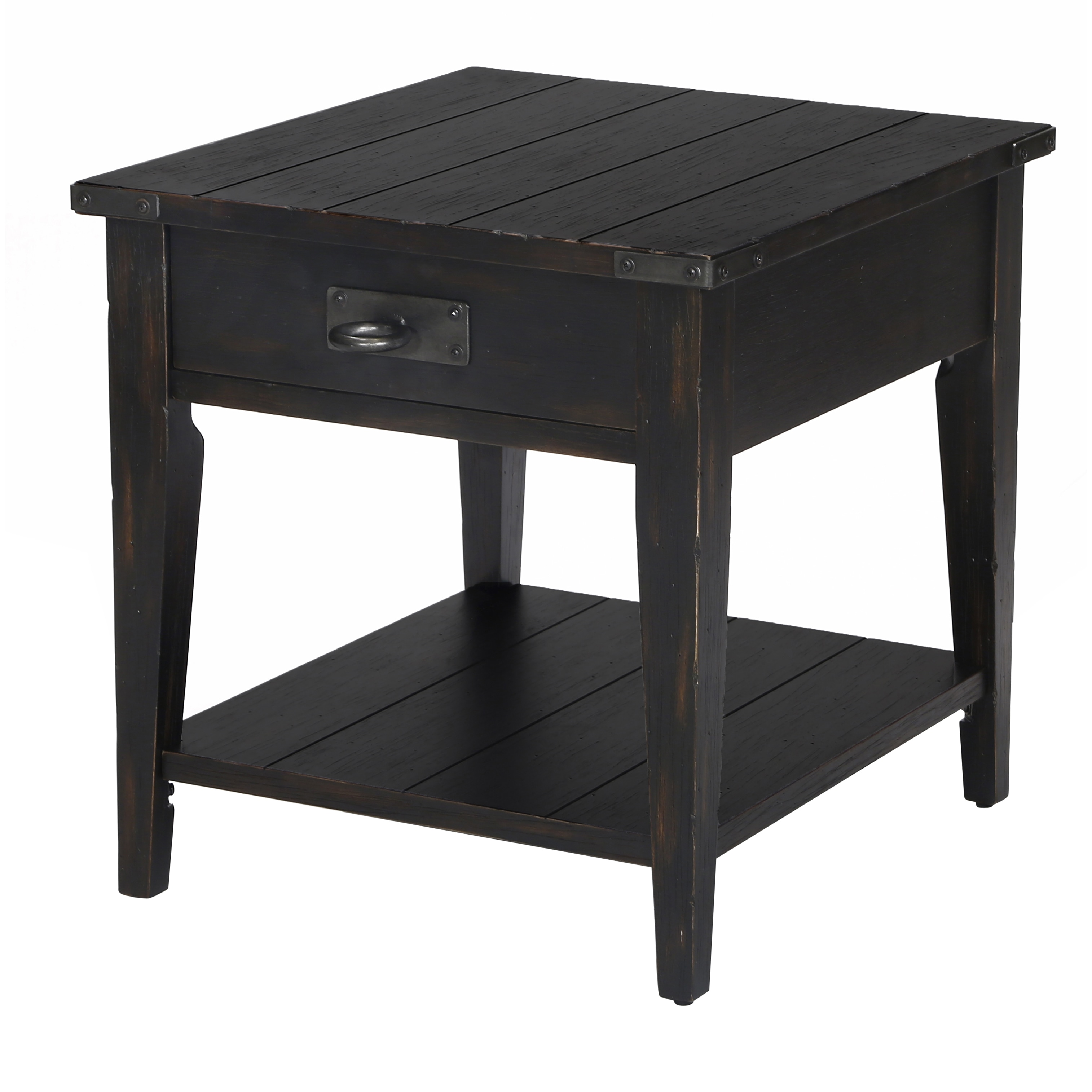 sheffield industrial distressed antique black storage end table magnussen rectangular free shipping today chair and side inch coffee pieces lamps under corey unfinished wood