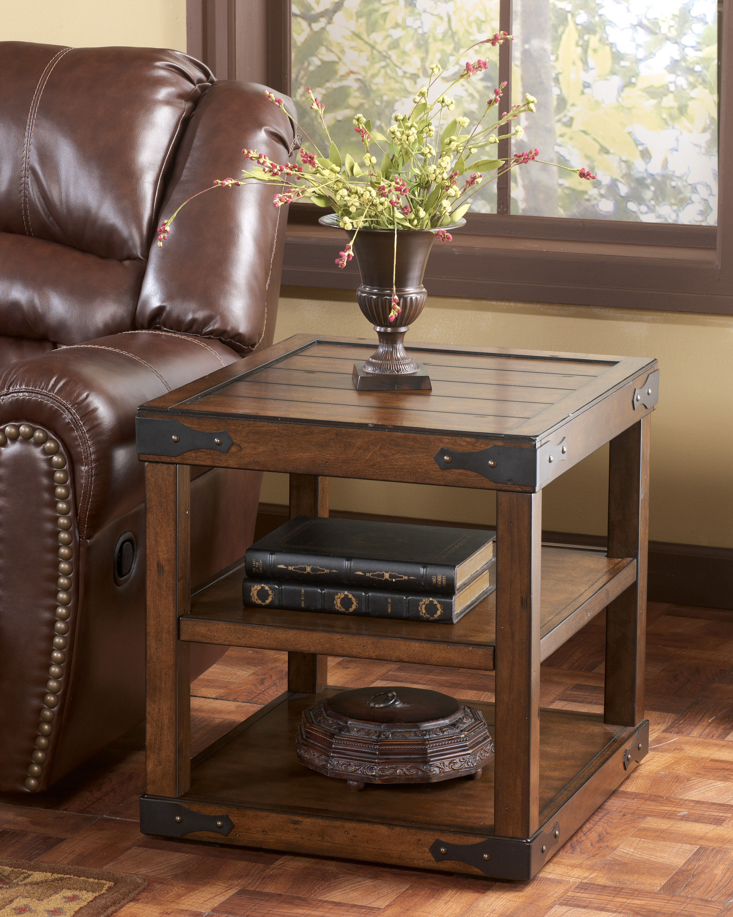 shepherdsville traditional brown wood end table the classy home coffee tables and click enlarge liberty furniture side chair square with stools solid oak drawers ashley