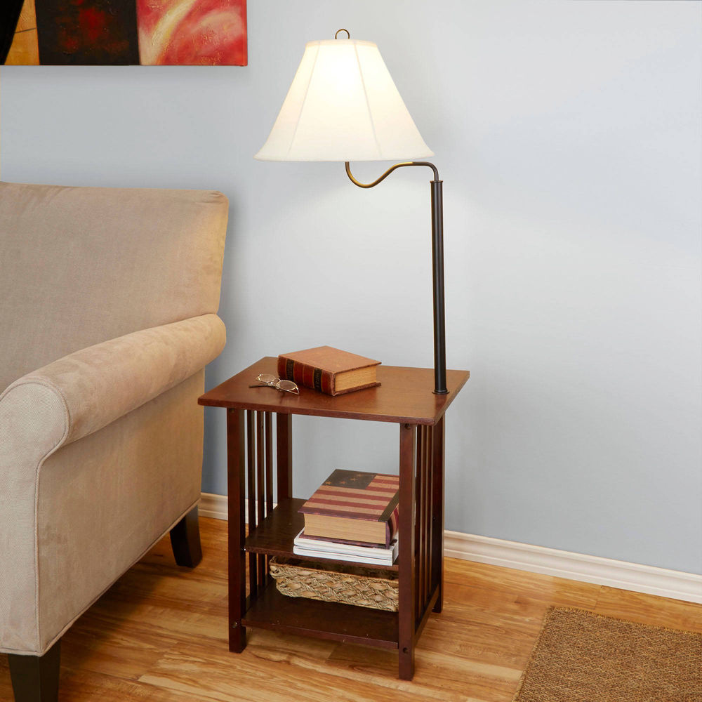 side end table with floor lamp rack shelves living room furniture combinations details about dark cherry brown leather couch modern coffee rectangular bar pipe legs metal scroll