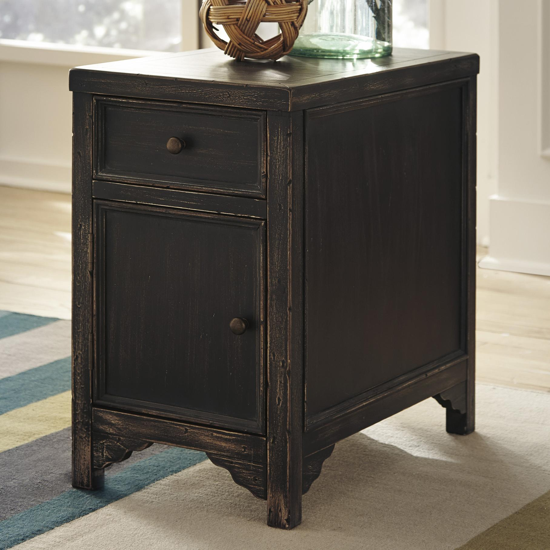 signature design ashley gavelston distressed chair side end table products color black accent cabinet ethan allen furniture dubai oval glass collection inch deep console pillows