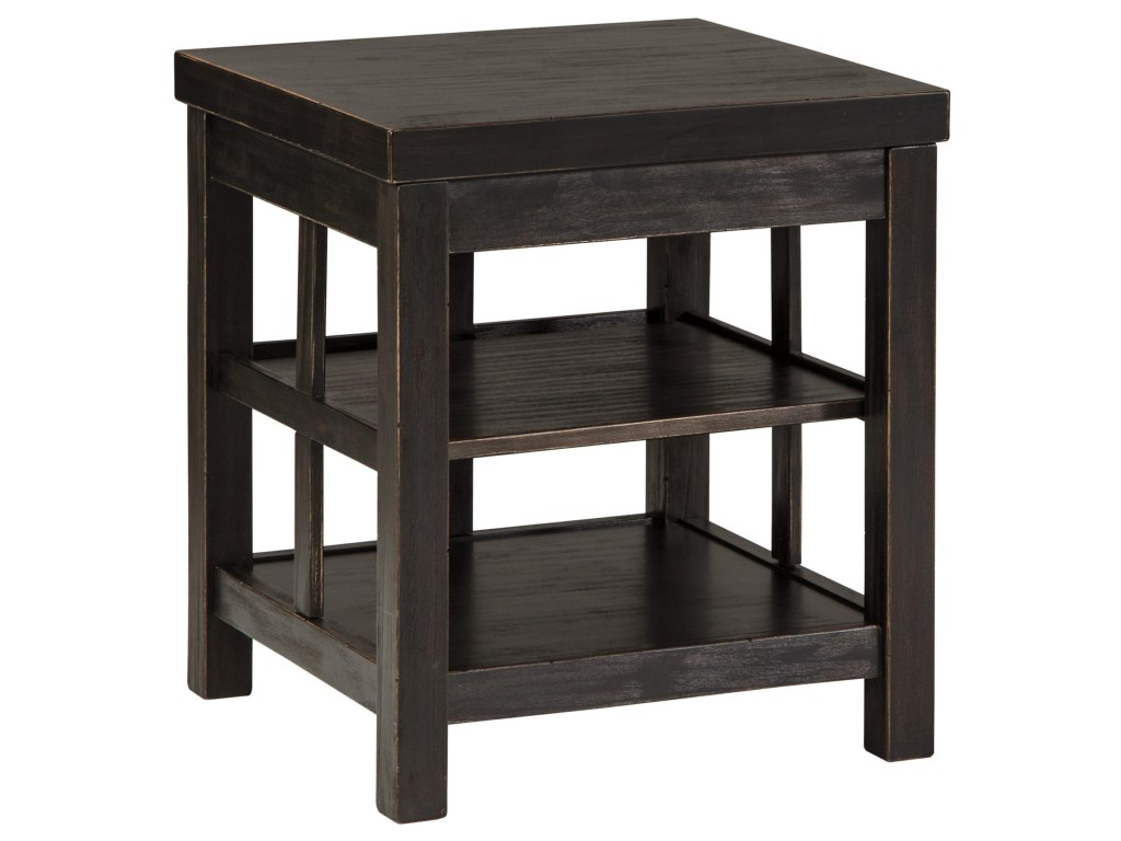signature design ashley gavelston rustic distressed black products color end table gavelstonsquare dual dog kennel handcrafted tables ethan allen furniture dubai unfinished wood