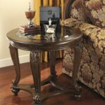 signature design ashley norcastle dark brown round end table tables leon kingston whalen braxton dining set palliser bedroom furniture vintage ethan allen southwestern lane 150x150