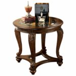 signature design ashley norcastle dark brown round end table tables outdoor furniture patio side used office bath glass set top square gold coffee girls bedroom strata twist 150x150