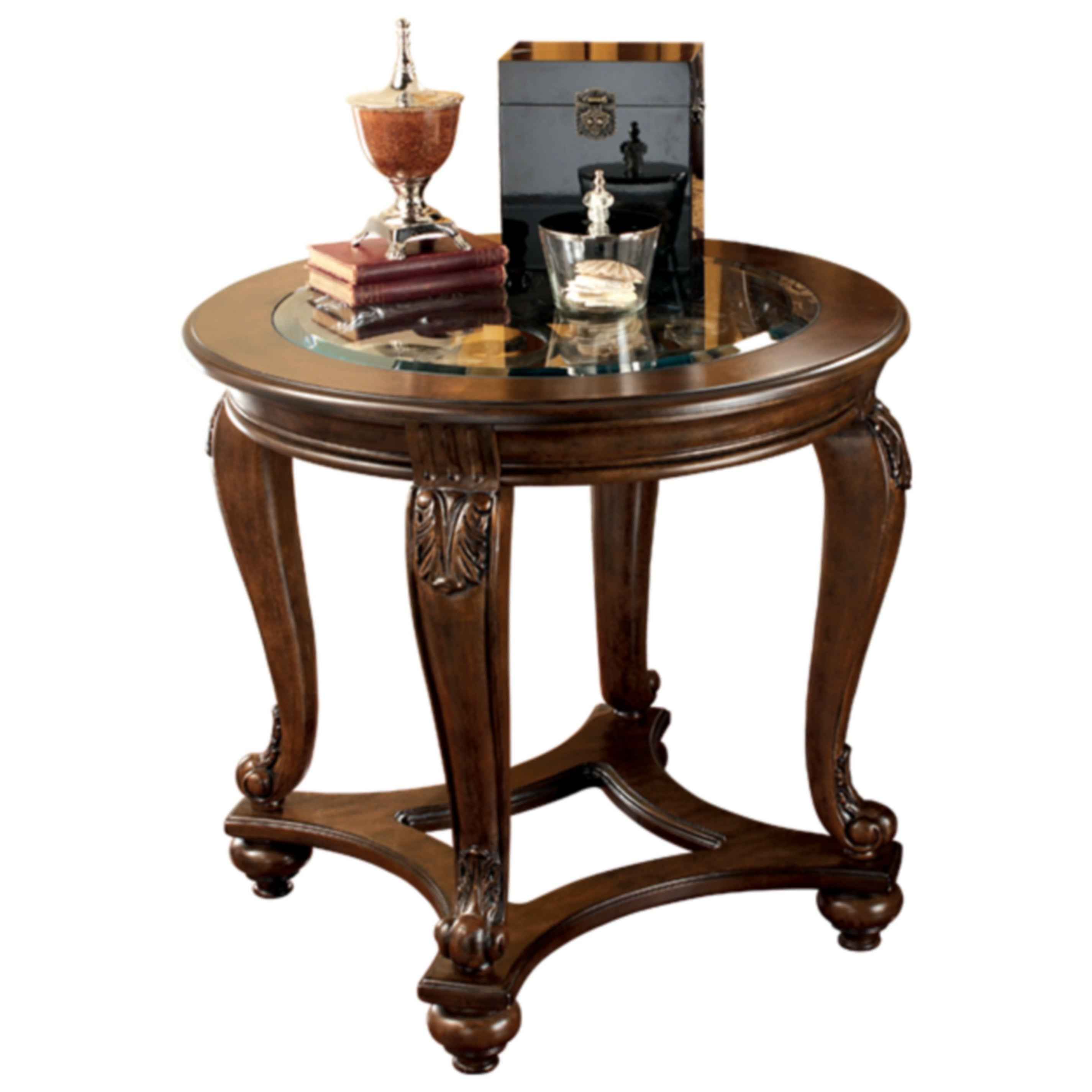 signature design ashley norcastle dark brown round end table tables outdoor furniture patio side used office bath glass set top square gold coffee girls bedroom strata twist