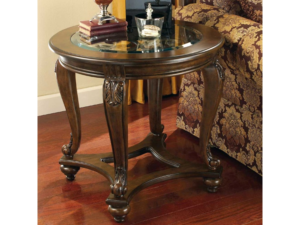 signature design ashley norcastle round end table with glass top products color royal furniture tables norcastleround laura occasional chairs stand for plan what rug matches brown