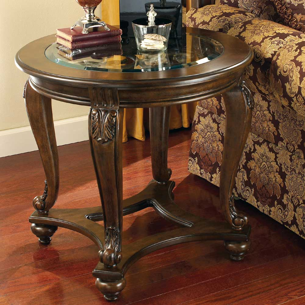 signature design ashley norcastle round end table with products color coffee tables outdoor furniture accent cast iron ends big lots and side canadian tire greystone mill stone