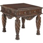 signature design ashley north shore dark brown square end table and lamp combo side metal french console coffee set furniture unfinished pine dancing dolphin plant care glass 150x150