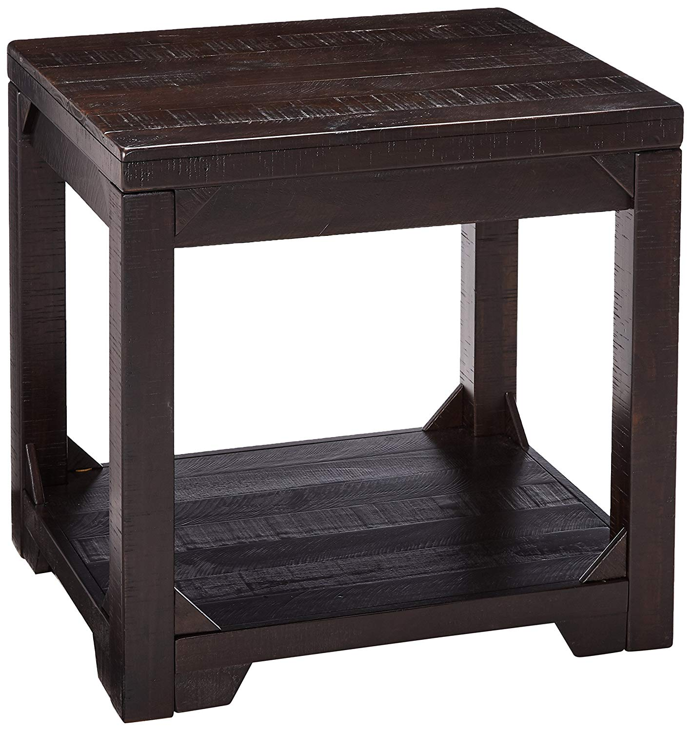 signature design ashley rogness rectangular rustic brown end tables table kitchen dining tube legs weathered gray coffee alan white furniture two round queen size bedroom suites