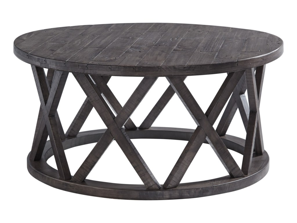 signature design ashley sharzane round cocktail table with products color distressed finish end tables skinny behind couch duncan phyfe best indoor dog crate unfinished furniture