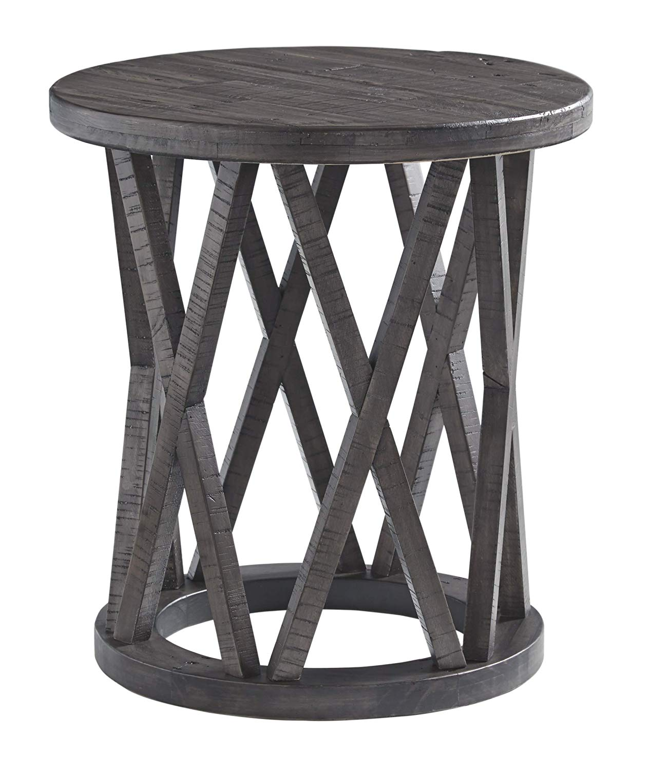 signature design ashley sharzane round end brown table grayish kitchen dining rustic coffee ideas patio decorating leather sofa stand kmart furniture clearance lounge suite gray