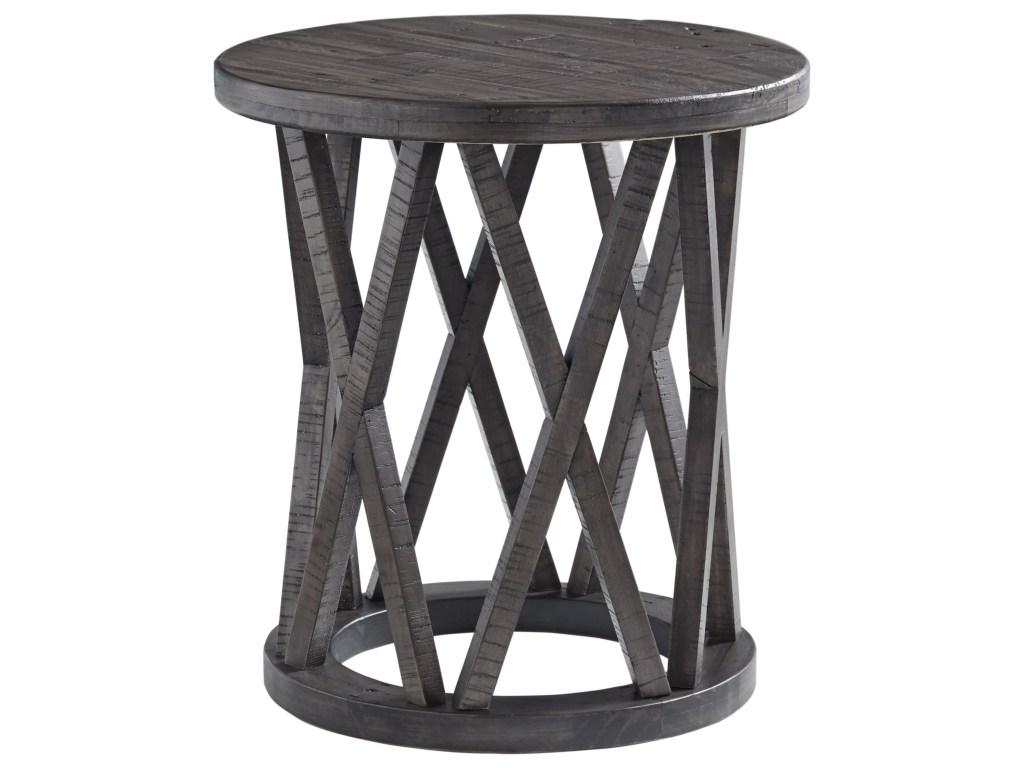 signature design ashley sharzane round end table with products color distressed finish tables west elm industrial storage console ethan allen home square bench craigslist boston