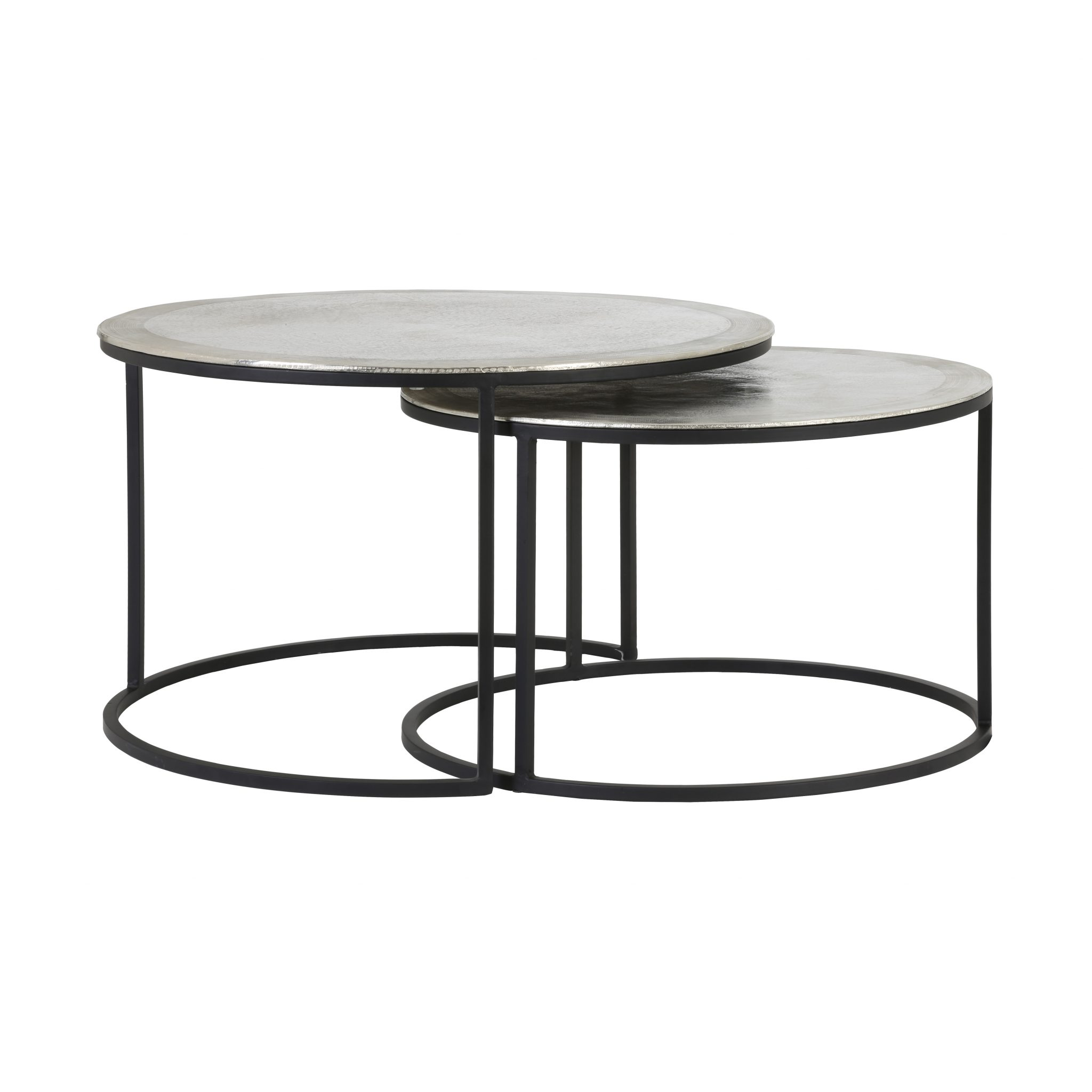 silver coffee table set two aflair for home end tables glass and stone narrow console drawers what colour cushions with brown leather sofa tall black bedside dining base living