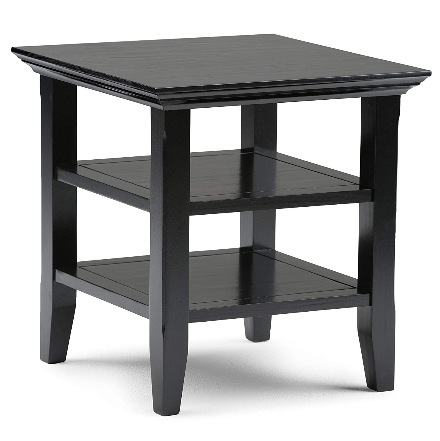 simpli home acadian solid wood end table black tables kitchen homesense garden decor pallet console storage cart powell furniture phone number how big are coffee glass silver side