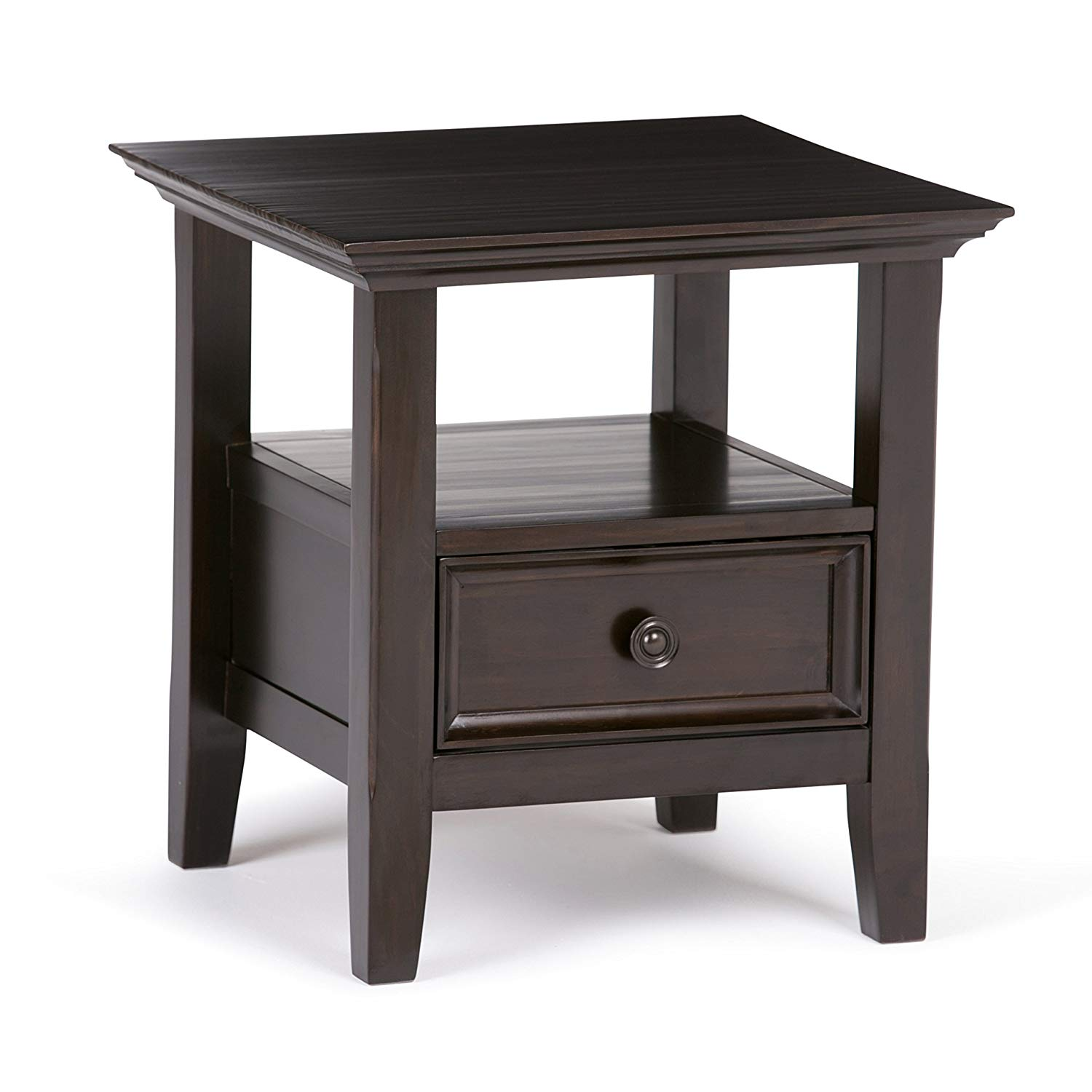 simpli home axcamh amherst solid wood inch wide dark brown end table square traditional kitchen dining cherry oak furniture log bench sauder harbor homemade pallet coral accent